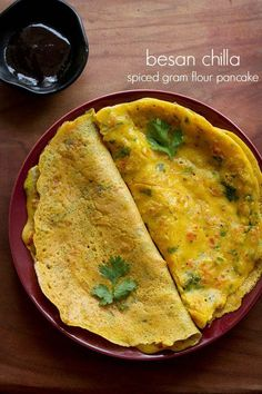 Besan Cheela recipe with step by step photos. Besan Cheela are savory spiced pancakes made with gram flour. Besan Cheela is a quick breakfast or snack. Veg Recipes, Brunch Recipes, Indian Food Recipes, Vegetarian Recipes, Cooking Recipes, Flour Recipes, Snacks Recipes, Recipes With Gram Flour, Breakfast