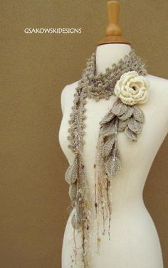 Crochetted scarf | Tığ işi yaprak atkı modeli
