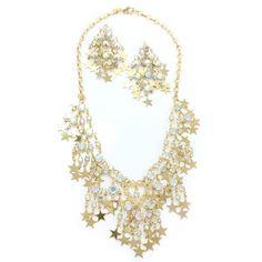 Kirks Folly Shooting Stars Necklace Earrings Goldtone Fringe Rhinestone