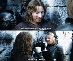 It's almost ridiculous how much I like this scene. I love the little glimpse we get into Boromir and Faramir's lives.