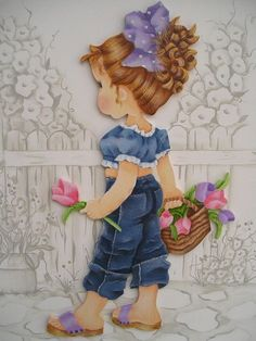 Little Girl by Sarah Kay - Color Inspiration Tole Painting, Fabric Painting, Sarah Key, Country Paintings, Holly Hobbie, Cute Little Girls, Cute Illustration, Vintage Images, Cute Drawings