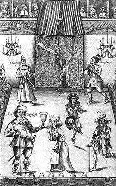 """The Wits, or Sport on Sport"", 1662 and 1672. This is one of the earliest extant illustrations of the English Restoration stage.The illustration depicts the interior of a London Restoration theatre generally assumed to be  The Red Bull  playhouse in London during the 17th century.  Note the audience watching the play from the upstage balcony."