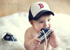 6 Month Baby photo, my son will have a collection of hats so I can take pictures like this lol