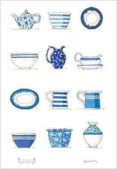 Blue & White Collection So la da di da di we like to tea party ❤️☕⏰ Decoupage, Tea Illustration, Red Tractor, Teapots And Cups, My Cup Of Tea, Planner, Food Illustrations, My Favorite Color, Tea Towels