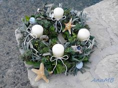 carpe_diem: An absolutely stunning Marine Advent wreath how-to. This is just go… – Advent Wreath İdeas. Christmas Advent Wreath, Winter Christmas, Christmas Crafts, Christmas Decorations, Christmas Ideas, Christmas Stuff, Beige Candles, Advent Activities, Wreath Drawing