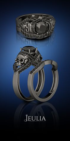 1.88CT Round Cut Black Diamond Rhodium Plating Sterling Silver Skull Ring #Jeulia