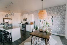 It's house tour time! I did a room tour a while back so I will link that post here, but today I am showing you all the rest of the house! Our house isn't finished… Boho Kitchen, Home Decor Kitchen, Kitchen Ideas, Kitchen Modern, Kitchen Layout, Apartment Kitchen, Apartment Living, Apartment Furniture, Apartment Ideas
