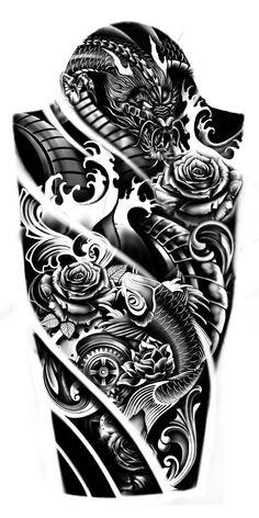 Dragon Koi Tattoo Sleeve, Dragon Koi Tattoo Design, Warrior Tattoo Sleeve, Samurai Tattoo Sleeve, Japan Tattoo Design, Geisha Tattoo Design, Forearm Sleeve Tattoos, Warrior Tattoos, Best Sleeve Tattoos