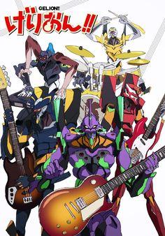 K-On! x Evangelion by たく Neon Genesis Evangelion, Copic Drawings, Good Anime Series, Arte Robot, Gundam Art, Mecha Anime, Game Concept Art, Pokemon, Anime Comics