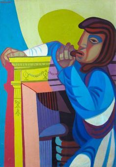 Woman at Fireplace, No.1 by Robert MacBryde  (1913–1966) was a Scottish still-life and figure painter and a theatre set designer. MacBryde became a well known painter of the Modernist school of art, known for his brightly coloured Cubist studies. His later work evolved into a darker, Expressionist range of still lifes and landscapes. In collaboration with Colquhoun, he created several set designs during and after the Second World War.