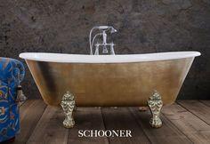 The Schooner bath in a variegated bronze leaf.  #bathtubs #baths #bathrooms #luxurybathrooms #bespoke baths #interiordesign #bathroomdesign #gilding #copperleaf #goldleaf #luxurybathrooms Cast Iron Bath, Copper Bath, Roll Top Bath, Bathtubs, Clawfoot Bathtub, Bathroom Accessories, Bespoke, Master Bedroom, Bathrooms