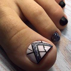 Glitter Pedicure Designs, Toenail Art Designs, Nail Art Designs Videos, Pedicure Nail Art, Toe Nail Art, Toe Designs, Pretty Toe Nails, Cute Toe Nails, Classy Nails