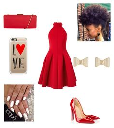 """Just A Dab of Red"" by randomray123 ❤ liked on Polyvore featuring Miss Selfridge, Christian Louboutin, Casetify and Hobbs"