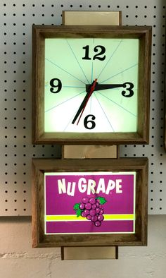 "Nu Grape Vintage Clock   24"" Clock - Works!   $125  Mid Century Dallas Booth #766  Lula B's in the OC! 1982 Ft. Worth Ave. Dallas, TX 75208"
