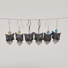 Handmade miniature origami owl earrings Dreaming Owl model designed by Alexander Kurth, folded and beaded by Katy Higgins of Prairie Kate Creations #prairiekate