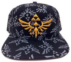 NINTENDO LEGEND OF ZELDA TRIFORCE LOGO ALL OVER PRINT SNAPBACK HAT CAP BLACK NWT #Nintendo #BaseballCap