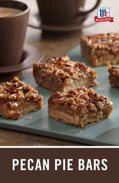 A favorite Christmas dessert recipe with all the flavors of pecan pie in easy-to-make bar form. This one-pan dessert bar recipe is the perfect big-batch dessert idea for this year's cookie exchange. Holiday Snacks, Christmas Desserts, Christmas Baking, Holiday Recipes, Christmas Candy, Christmas Treats, Christmas Cookies, Just Desserts, Delicious Desserts