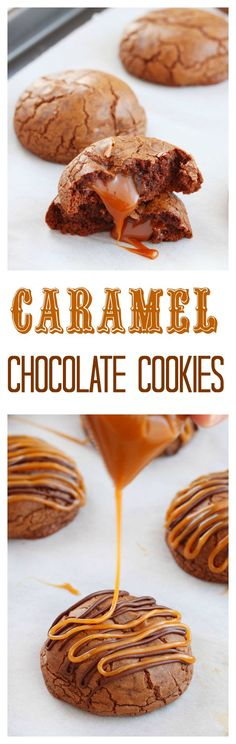 Irresistible rich chocolate cookies stuffed with gooey caramels and finished with a drizzle of caramel and melted chocolate. Deliciousness in every bite!: