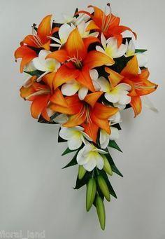 Latex white yellow frangipani orange tiger lily wedding bouquet teardrop flower in Home & Garden, Wedding Supplies, Flowers, Petals, Garlands | eBay