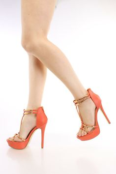 Orange T Strap Open Toe Heels Faux Leather