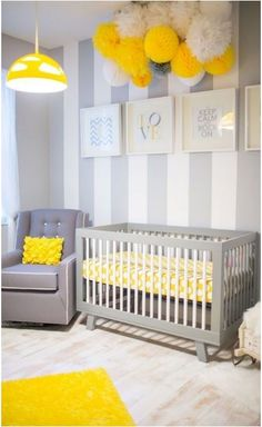 Neutral Nursery Theme Ideas~Gray and yellow are trending colors when it comes to designing a gender neutral nursery. Chevron is also popular when it comes to adding texture to a baby's room or any room at all...it's extremely popular! The bright yellow color will allow your baby to focus on the color and exercise his or her eyes.