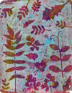 Gelli prints with leaves....5 prints
