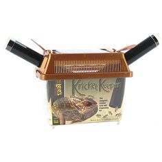 Lee's Kricket Keeper has a technologically advanced lid that features a viewing and feeding window on the top with two dark tubes with clear caps and flappers that cover opening when cylinders are removed and a carry handle.  Crickets naturally gravitate to dark places. The two dark cylinders provide an ideal hiding place for the crickets, while also allowing for easy closing when feeding animals.  House up to 30 medium crickets for a week or longer.  Colors may vary  Small: 7 W X 4.25 D X…