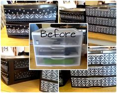 Give those boring Sterilite drawers a makeover with some spray paint, mod podge and tissue paper. or scrapbook paper. or any other kind of paper! Plastic Storage Drawers, Storage Bins, Craft Storage, Plastic Bins, Creative Storage, Creative Home, Furniture Makeover, Diy Furniture, Scrapbook Storage