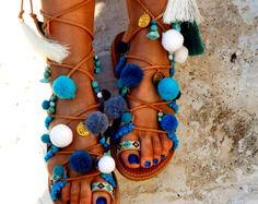 Tie Up Gladiator Sandals Greek Leather Sandals by DimitrasWorkshop