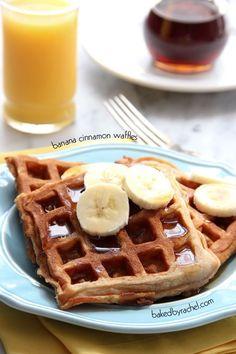 Moist and flavorful homemade banana cinnamon waffles. French Toast Waffles, Pancakes And Waffles, Yummy Waffles, Cinnamon Waffles, Banana Cinnamon, Breakfast Dessert, Breakfast Recipes, Sunday Breakfast, Breakfast Club