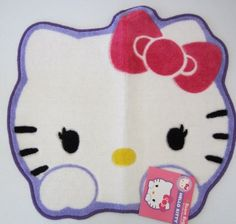 """Hello Kitty Room Rug 26 in X 24 in (66 cm X 61 cm) by Sanrio. $38.99. Rubber backing to prevent slipping.. Adorable Hello Kitty 26""""x24"""" rug.. Adorable Hello Kitty 26""""x24"""" rug.  Rubber backing to prevent slipping."""
