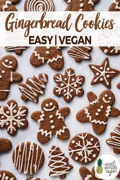 These are the BEST vegan gingerbread cookies you will get your hands on. They are easy to make, don't require any funky ingredients and are SO DANG GOOD! Vegan Gingerbread Cookies, Vegan Christmas Cookies, Christmas Baking, Italian Christmas, Gingerbread Houses, Christmas Recipes, Vegan Dessert Recipes, Easy Cookie Recipes, Vegan Sweets