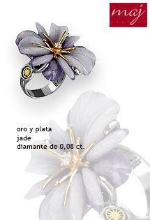 6422955d8458 Anillo de oro y plata para mujer con motivo floral engastado un diamante de  0