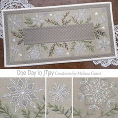 """A Scattering of Snow - table mat"" - A small Christmas project featuring embroidered snowflakes, scattered amongst variegated pine branches."