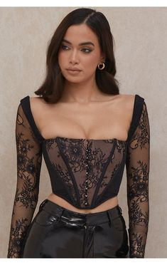 Edgy Outfits, Cute Casual Outfits, Fashion Outfits, Lace Bustier, Lace Corset, Corsage, Corset Noir, Corset Outfit, Bodycon