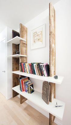 Can do this with DH's antique wood plank    Weathered Wood Shelf: DIY Art