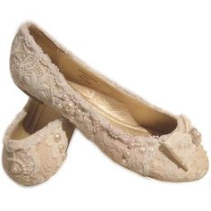 ELISA Lace & Pearl Flat Ivory Wedding Bridal Shoes by TLC Lace & Pearl…
