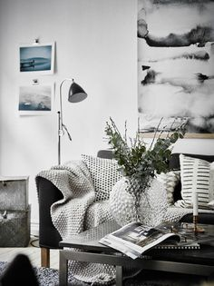 Scandinavian apartment with oversized watercolor art