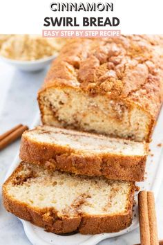 Cinnamon Swirl Bread is so easy to make without yeast and has a delicious cinnamon sugar swirl inside. This moist Cinnamon Bread is perfect for the holidays and makes a delicious breakfast or afternoon snack! Easy Baking Recipes, Easy Cake Recipes, Muffin Recipes, Easy Desserts, Sweet Recipes, Dessert Recipes, Party Recipes, Fall Recipes, Bread Recipes