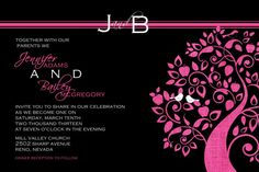 Hot Pink and Black Trees and Birds Wedding by Joyinvitations, $143.98