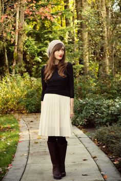 Chunky knit hat, black, ivory, and tights