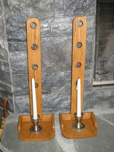 Primitive Amish Candle Holders Set of two by FairfaxDavis on Etsy, $38.00