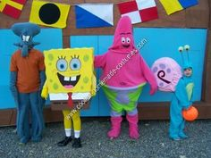 Homemade Squidward Halloween Costume: For Halloween this year our family decided on SpongeBob as our theme.  My wife decided on a homemade Squidward Halloween costume. The pants were patterned