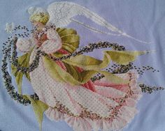 Lavender and Lace cross stitch Summer angel by ThreadsOfTheHeart, $75.00