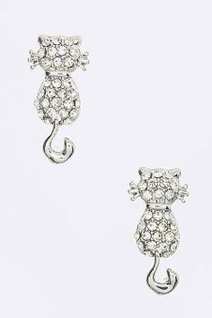 $10 JEWELRY SPECIAL :: CRYSTAL CAT LOOKING BACK EARRINGS (SILVER TONE)  - $10