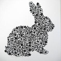 rabbit print by folk art papercuts by suzy taylor   notonthehighstreet.com
