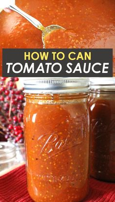 An easy homemade tomato sauce that can be canned in a water bath canner. Perfect for beginners! This from scratch Italian style tomato sauce can be made with fresh or frozen tomatoes! Roasted Tomato Sauce, Homemade Tomato Sauce, Canned Tomato Sauce, Roasted Tomatoes, Sauce Recipes, Real Food Recipes, Cooking Recipes, Water Bath Canning, How To Can Tomatoes