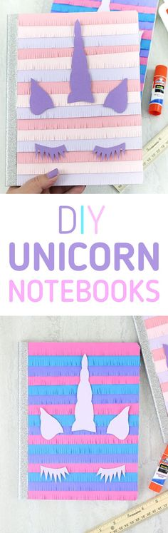 DIY Unicorn Notebooks. Pinata style! So CUTE. Free printable. Shop Walmart for affordable back to school supplies to make this. #ad