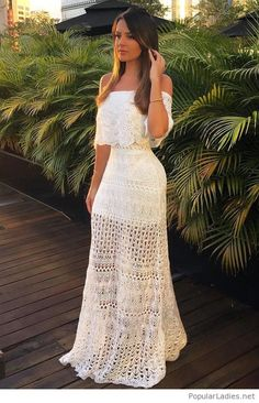 Cool long white dress with lace