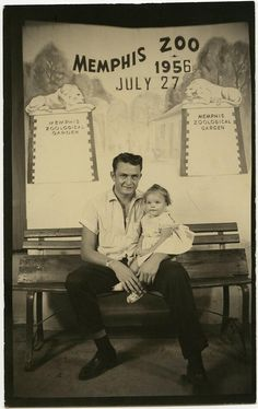 Johnny Cash and daughter Roseann Memphis zoo 1956